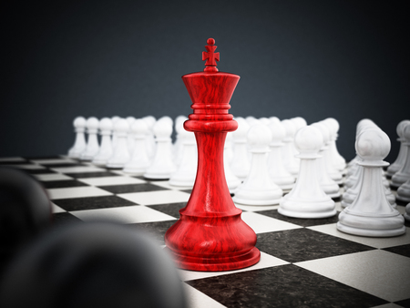 Red chess king standing between white and black pawns. 3D illustration.