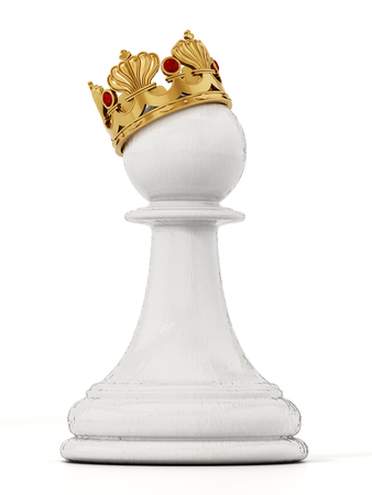 White chess pawn with golden crown. 3D illustration.