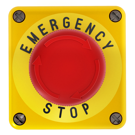 Emergency stop button isolated on white background. 3D illustration.