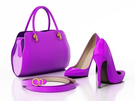 Purple handbag, shoes and belt isolated on white background. 3D illustration.
