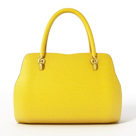 Yellow handbag isolated on white background. 3D illustration.