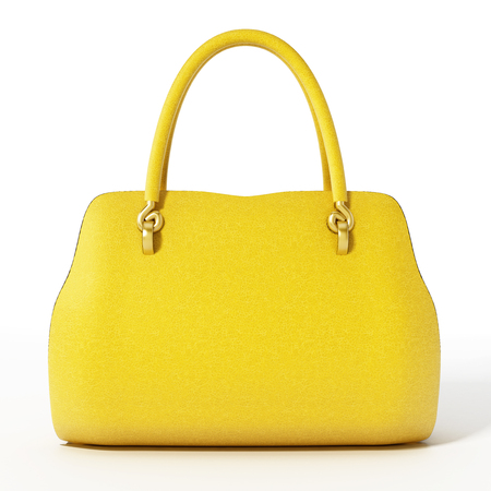 Yellow handbag isolated on white background. 3D illustration.