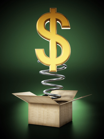 Gold dollar symbol popping out of the cardboard box. 3D illustration. Stock Photo