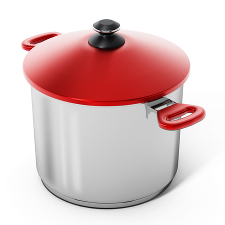 Cooking pot isolated on white background. 3D illustration. Stock Photo