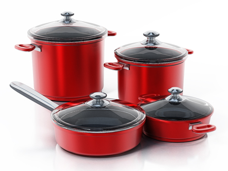 Cooking pots in various size isolated on white background. 3D illustration.