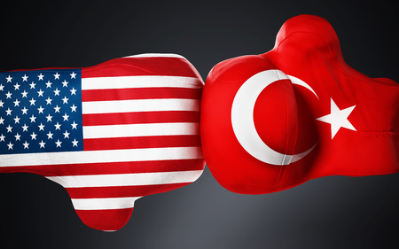 American and Turkish flag textured boxing gloves on black. 3D illustration.