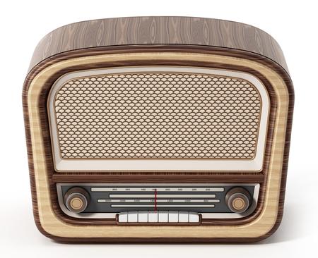 Vintage radio isolated on white background. 3D illustration.
