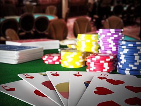 Poker royal flush hand and casino hands standing on poker table. 3D illustration.