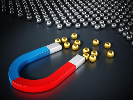 Horseshoe magnet pulling chrome spheres. 3D illustration.