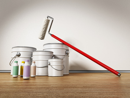 Paint cans, roller and color tubes standing on hardwood floor. 3D illustration.
