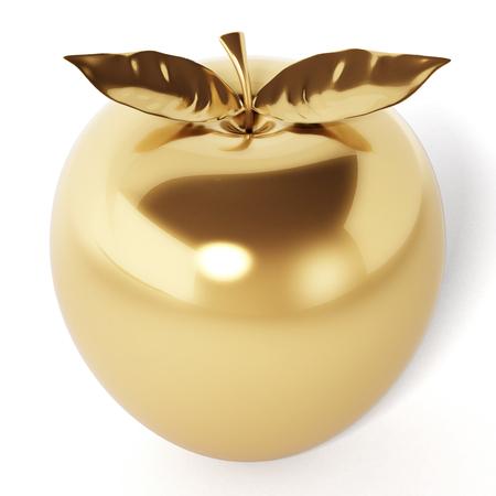Mela d'oro isolato su sfondo bianco. Illustrazione 3D.