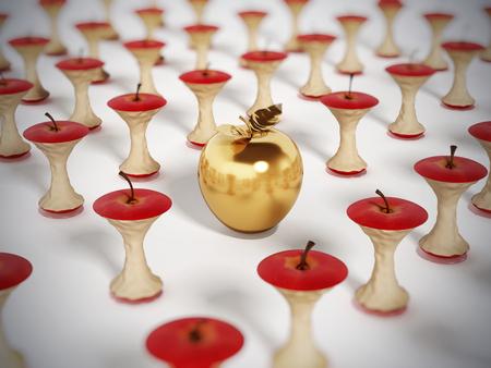 Golden apple standing out among eaten apple cores. 3D illustration.