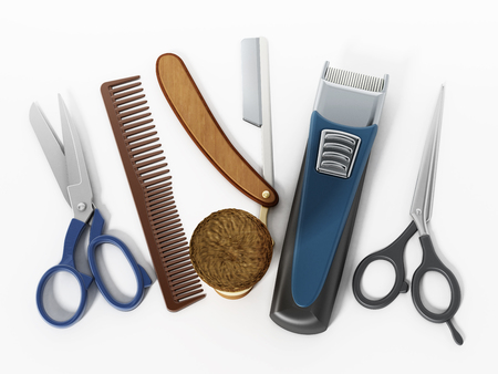 Barber tools isolated on white background. 3D illustration.