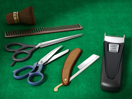 Barber tools standing on green background. 3D illustration. Stock Photo