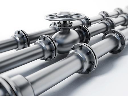 Oil pipeline isolated on white background. 3D illustration.