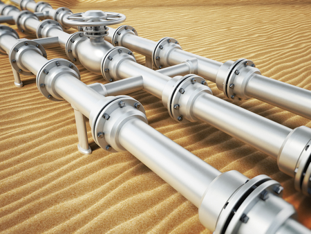 Oil pipeline on desert sand. 3D illustration. Stock Photo