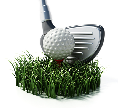 Grass, golf club and ball isolated on white background. 3D illustration. Stock Illustration - 107307977