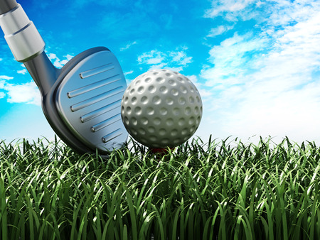 Golf club and ball standing on green grass. 3D illustration.