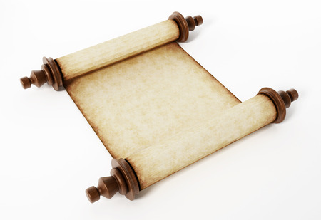 Old scroll isolated on white background. 3D illustration. Stock Photo