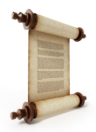 Old scroll with lorem ipsum text isolated on white background. 3D illustration.