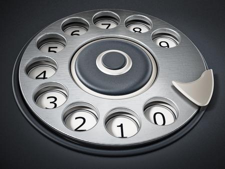 Vintage dial phone detail background. 3D illustration.
