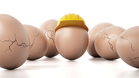 Brown egg with yellow hardhat standing out among cracked eggs. 3D illustration. Stock Photo