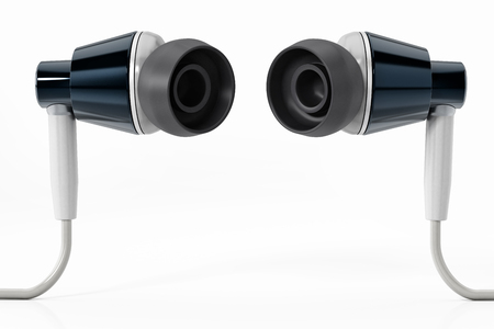 Generic modern earphones isolated on white background.