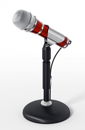 Classic design cable microphone with table stand. 3D illustration. Stock Photo