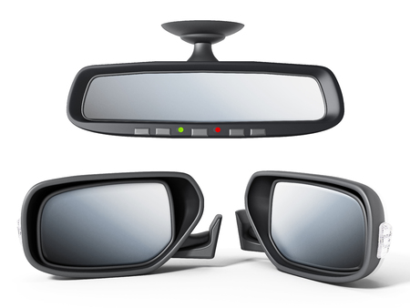 Car back and side mirrors isolated on white background. 3D illustration. Stock Photo
