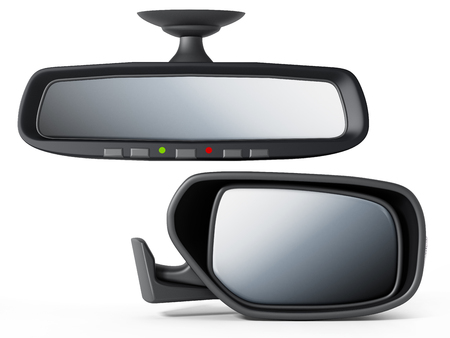 Car back and side mirror isolated on white background. 3D illustration. Banco de Imagens