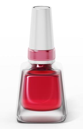 Red nail polish glass bottle isolated on white background. 3D illustration.