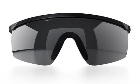Black ski glasses or sunglasses isolated on white background. 3D illustration. Stock Photo