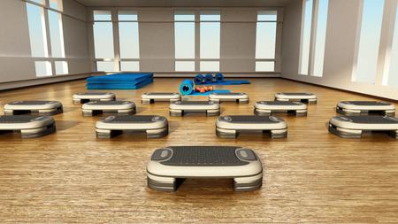 Step boards arranged inside the gym or fitness center. 3D illustration.