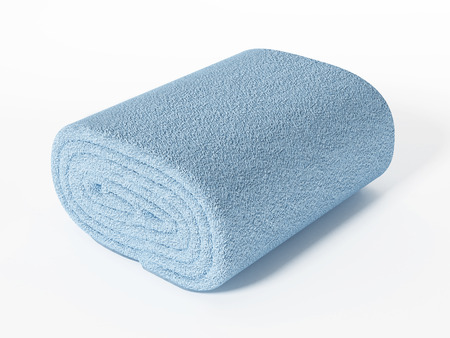 Fresh, clean towel isolated on white background. 3D illustration.