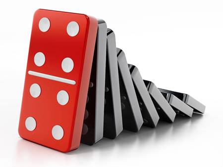 Domino pieces standing in a row. 3D illustration. Stock Photo