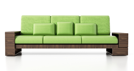 Modern sofa isolated on white background. 3D illustration. Stock Photo
