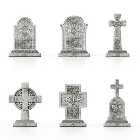 Zes verschillende grafzerkmodellen die op witte achtergrond met zachte bezinningen worden geïsoleerd. Stockfoto
