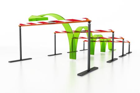 Flèche bleue sautant par-dessus les obstacles. Illustration 3D.