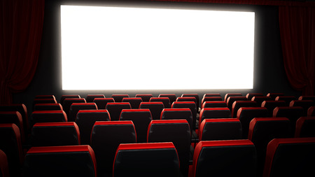 Empty red movie theater seats and blank cinema screen. 3D illustration.