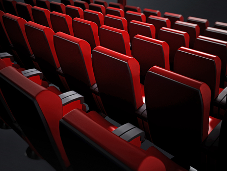 Empty red movie theater seats. 3D illustration.