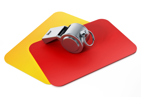 Red, yellow cards and referee whistle isolated on white background. 3D illustration.