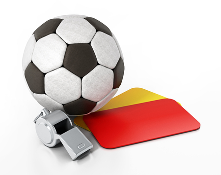 Cards, soccer ball and whistle isolated on white background. 3D illustration. Stock Photo