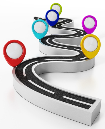 Colorful road markers and motorway isolated on white background. 3D illustration. Stock Photo