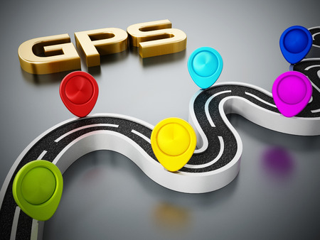 Colorful road markers, motorway and gps text on dark background. 3D illustration.