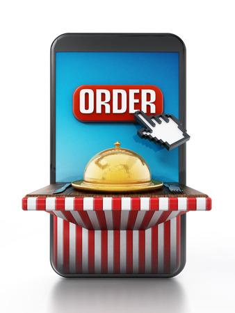 Online food order and delivery concept. 3D illustration.