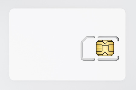 SIM card isolated on white background. 3D illustration.