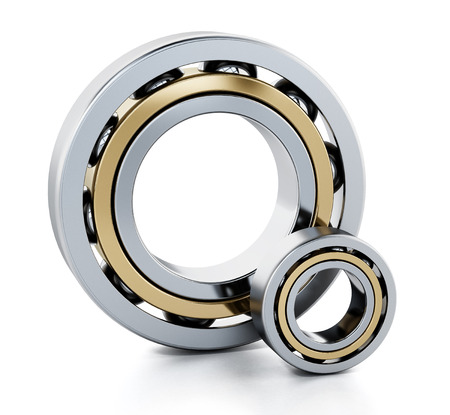 Ball bearings isolated on white background. 3D illustration.
