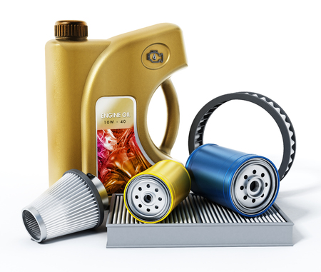 Car engine oil, oil and air filters isolated on white background. 3D illustration. Stock Photo