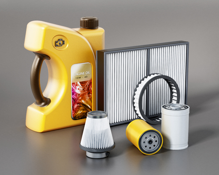 Car engine oil, and filters isolated on gray background. 3D illustration.