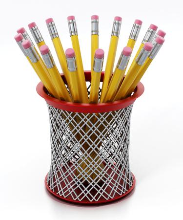 Black pen holder full of yellow pencils isolated on white background. 3D illustration